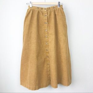 VTG 70s Union Made Mustard Corduroy Button Skirt